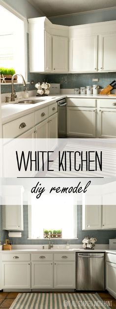 White Kitchen DIY Remodel: Turn a Builder Grade Kitchen Into Dream Kitchen by Adding Height to Cabinet Tops and Painting Cabinets White.