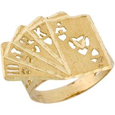 14k Real Solid Gold Royal Flush Poker Cards Lucky Unisex Ring * Check this awesome product by going to the link at the image.