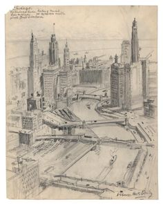 "VERNON HOWE BAILEY  Artist's Biography     Chicago. The Chicago River, looking toward Lake Michigan. At the rivers mouth stood Fort Dearborn.     Pencil drawing, undated.  Paper size 14 1/4 x 11"" (359 x 280 mm"