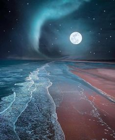 Full Moon in the Beach - DIY Diamond Painting – Colorelaxation Image Nature, Shoot The Moon, Moon Photography, Moon Art, Amazing Nature, Night Skies, Beautiful Landscapes, Moonlight, Beautiful Places