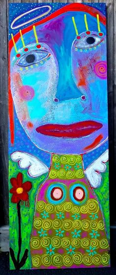 Tracey Ann Finley Original Outsider Folk Angel Painting FLOWER ANGEL huge Canvas #OutsiderArt