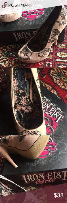 Iron Fist Blush heels with sequin skulls Iron Fist Blush heels with sequin skulls worn for photo shoot only. Excellent condition. Comes with box. Iron Fist Shoes Heels