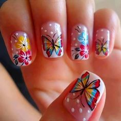 Butterfly Nail Art Designs Gallery pink yellow and blue butterfly nail art with flowers design idea Butterfly Nail Art Designs. Here is Butterfly Nail Art Designs Gallery for you. Cute Nail Art, Beautiful Nail Art, Gorgeous Nails, Love Nails, Pretty Nails, Amazing Nails, Spring Nail Art, Nail Designs Spring, Toe Nail Designs
