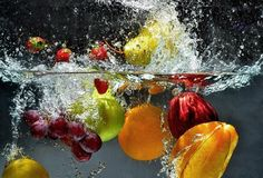 Fruit and vegetables splash into water Vinyl Wall Mural ✓ Easy Installation ✓ 365 Day Money Back Guarantee ✓ Browse other patterns from this collection!