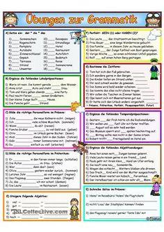 Arbeitsblatt/ Grammatikmit 10 Aufgaben- Artikel - Lokalpräpositionen- Verben im Präsens- Verben im Präteritum- Adjektive Komparation- sein oder haben (Perfekt)- Zeitformen bestimmen- Temporalpräpositionen- Adjektive Deklination- SatzbauUmfang: 3 Seiten (Farbe + SW + Lö)Vorschau schlecht: Die Farben in den Kästchen sind heller als hier abgebildet!Viel Freude damit! Lieben Dank!  ; ) - DaF Arbeitsblätter