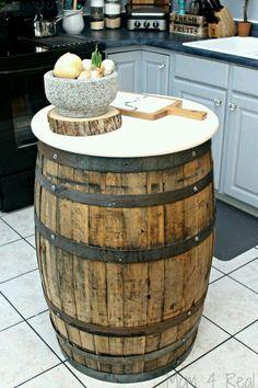Love the idea of an old barrel for an island