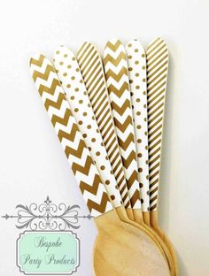 All that glitters! Gold wooden cutlery by Bespoke Party Products.