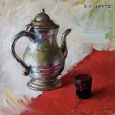 Cup on Red by David Cheifetz Oil ~ 6 x 6