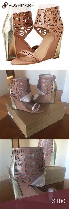 """NIB ARTELIER NICOLE MILLER Turks Brown Wedge Sz 10 Guaranteed Authentic. Org retail: $200. New, never worn; comes with box, and heel replacement tips. Brown laser cut leather body, with gold leather detail. Open toe 4"""" wedge. NO TRADES. Open to offers through the offer button ☺ Nicole Miller Shoes Sandals"""