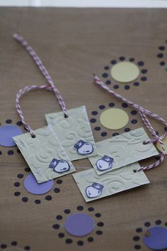 paint chips and rubber stamp gift tags