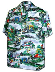 e2c2506217 Motorcycles Route 66 - Aloha Shirt