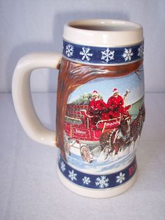 BUDWEISER HOLIDAY STEIN Lighting the Way Home Clydesdale Horses 1995 Beer Mug