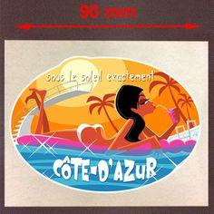 COTE D'AZUR SOLEIL SUN HOLIDAYS VINTAGE - AUTOCOLLANT/STICKER 90mm - SA073