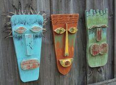 Tiki Man, Tiki Mask, Primitive Wall Hanging, Rustic Beach House, Wood Sculpture on Etsy, $25.00
