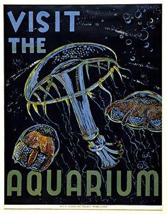 WZ-9 Vintage WPA vintage Zoo Aquarium   vintage prints & posters   Flickr