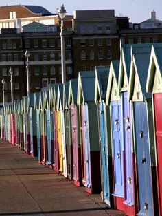 Beach boxes in Brighton | England (this is where I grew up, explains my obsession with color.)