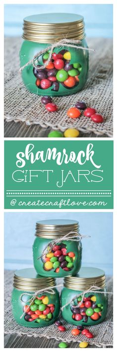 These Shamrock Gift Jars are a sweet treat with a hint of the rainbow! via createcraftlove.com