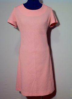 Vintage 60s Barnsville Pink Brocade Polyester Sheath Dress L