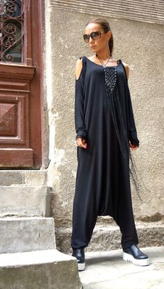 NEW Collection AW 2015 Black Viscose Jumpsuit / Extravagant Loose Jumpsuit both long sleeves and sleeveless by AAKASHA A19316