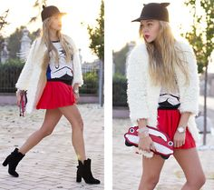 WHITE FAUX FUR AND LITTLE DEVIL EARS (by Darya Kamalova) http://lookbook.nu/look/4268127-WHITE-FAUX-FUR-AND-LITTLE-DEVIL-EARS