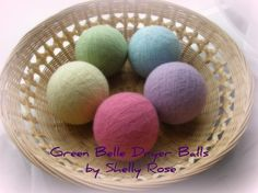 Felted All Wool Large Eco Dryer Balls--Set of 5--Easter Basket Colors--Wool Core