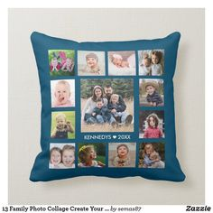 13 Family Photo Collage Create Your Own Blue Throw Pillow Navy Blue Throw Pillows, Blue Throws, Family Photo Collages, Family Photos, Designer Throw Pillows, Custom Pillows, Your Design, Create Your Own, Make It Yourself