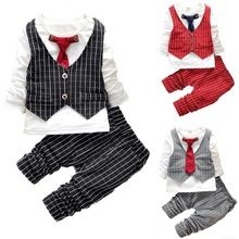 Fashion Baby Boy Clothes Sets Gentleman Suit Toddler Boys Clothing Set Long Sleeve Kids Boy Clothing Set Christmas Outfits(China (Mainland))