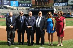 (L-R)  Rabbi Marvin Hier, Rabbi Meyer H. May,  Dani Dayan, Ira J. Goldstein, Ann S. Arnold and  Dr. Lisa Wisotsky attend the 911 Yankees Event: Simon Wiesenthal Participation at Yankee Stadium on September 11, 2016 in New York City.