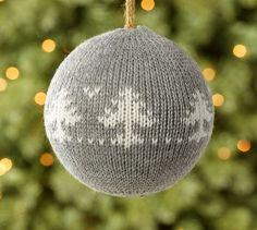 Fair Isle Knit Ball, Gray | Pottery Barn