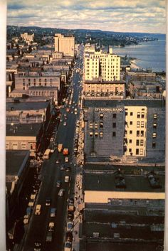 Aerial View of Superior Street in Duluth Minnesota 1960 Postcard