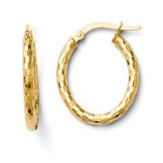 Leslies 14k Textured Oval Hoop Earrings