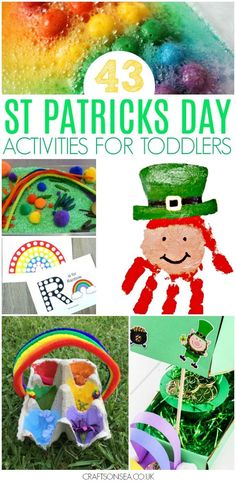 The ultimate guide to St Patricks Day activities for toddlers with over 40 fun ideas. Crafts, sensory play and easy activities kids can do including creating keepsakes, playdough ideas, sensory bins, printables and handprint art ideas. March Crafts, St Patrick's Day Crafts, Fun Crafts, Easter Crafts, Toddler Preschool, Toddler Crafts, Toddler Activities, Toddler Fun, St Patricks Day Crafts For Kids