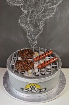 The Grill Master Cake w/ Coal Mini Tutorial Fondant Cakes, Cupcake Cakes, Bbq Cake, Chef Cake, Funny Cake, Cake Blog, Crazy Cakes, Specialty Cakes, Novelty Cakes