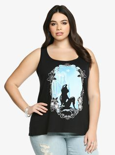 Our favorite underwater underwater Princess Ariel is ready for a little land time. She's framed against a blue waterfall that gives this black racerback a nice burst of color. It's a fun style to sport for an adventurous weekend.