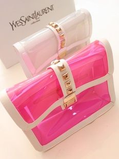 Transparent jelly baodan oblique slung a chain shoulder Pack Jelly Bag, Yves Saint Laurent, Transparent Bag, Ysl Bag, Stylish Handbags, Work Bags, Bag Packaging, Clear Bags, Cosmetic Pouch