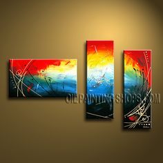 Beautiful Modern Abstract Painting Hand-Painted Art Paintings For Living Room Abstract. This 3 panels canvas wall art is hand painted by Bo Yi Art Studio, instock - $147. To see more, visit OilPaintingShops.com
