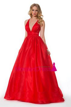 2014 Deep V Neckline Prom Dress Organza Floor Length Backless Sexy Red