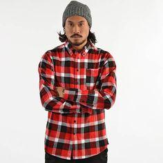 k1x heavy weight flannel shirt red/black