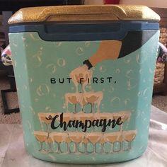 but first champagne wine alcohol sorority cooler Sorority Canvas, Sorority Paddles, Sorority Crafts, Sorority Recruitment, Sorority Life, Fraternity Coolers, Frat Coolers, Cute Crafts, Diy And Crafts