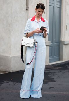 The cutesy collar and super-wide flare on Hanneli's tucked-in blouse and trousers keep this Prada look far from bedroom territory, as well as being a sassy reboot of the PJ trend of yesteryear. Add a flower-embellished bag, one tidy updo and you've smashed that weekend look