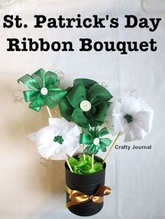 Patrick's Day Ribbon Bouquet Tutorial Create a beautiful St. Patrick's Day ribbon bouquet that will last long after St. Patrick's Day is past. Ribbon Bouquet, Diy Bouquet, Crafts For Seniors, Crafts For Teens, St Patricks Day Crafts For Kids, Craft Tutorials, Diy Projects, Craft Ideas, Diy Ribbon