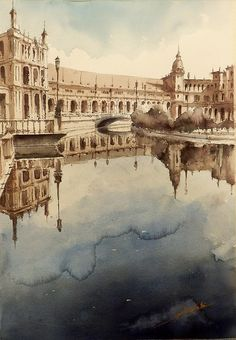 ACUARELAS KUBI: SEVILLA, PLAZA DE ESPAÑA, Jose Luis Lopez Watercolor Architecture, Watercolor Landscape, Watercolor Artists, Watercolor Paintings, Watercolors, Andalusia, Various Artists, Gouache, Sketches