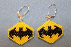 """Here are a pair of """"Bat"""" earrings I made. Great for Halloween, and the bright colors catches everyone's eye."""