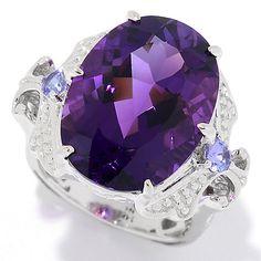 154-543 - Gems en Vogue 14K White Gold 11.30ctw Congo Amethyst & Tanzanite Ring