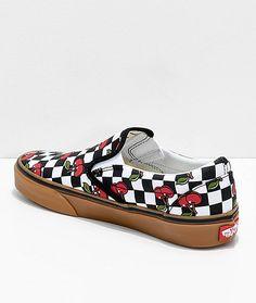 vans checkerboard cherry slip ons
