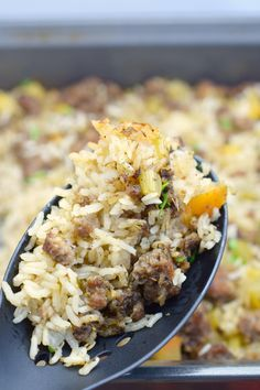 Serve this Savory Sausage and Apple Rice Casserole with your holiday meals. Delicious alternative to traditional stuffing, is easy to prepare and so good. Italian Casserole, Lasagna Casserole, Rice Casserole, Casserole Recipes, Slow Cooker Times, Slow Cooker Recipes, Cooking Recipes, Stuffing Recipes For Thanksgiving, Thanksgiving Side Dishes