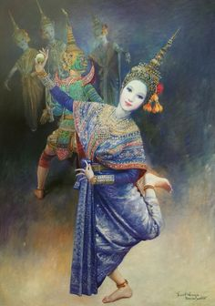 """The dance of Mekhala (an angel) and Ramasura (a demon) : the legend of lightning & thunder"", 2002, oil on canvas, by a Thai national artist Chakrabhand Posayakrit"