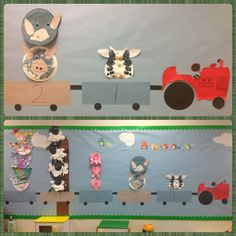 Preschool Farm unit bulletin board to go with barefoot books song Driving My Tractor.