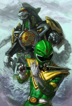 Green Ranger & the Dragonzord-fuckin old school man hell yeah