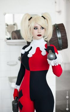 Character: Harley Quinn (Dr. Harleen Quinzel) / From: DC Comics 'Harley Quinn' & DCAU's 'Batman: The Animated Series' / Cosplayer: Anna Rédei (aka Enji Night) / Photo: Sarmai (Balázs Sármai) (2016) - COSPLAY IS BAEEE!!! Tap the pin now to grab yourself some BAE Cosplay leggings and shirts! From super hero fitness leggings, super hero fitness shirts, and so much more that wil make you say YASSS!!!